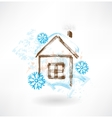 House in snowflakes grunge icon vector image