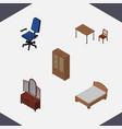 isometric furniture set of office bedstead chair vector image