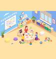 kindergarten teacher with kids learning alphabet vector image