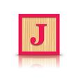letter J wooden alphabet block vector image vector image