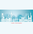 london england landmarks skyline paper cutting vector image