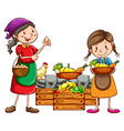 Market vendors selling the fresh harvests vector image vector image