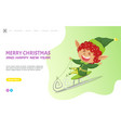 merry christmas and happy new year elf on sleds vector image vector image