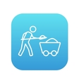 Mining worker with trolley line icon vector image vector image