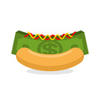 Money hot dog Bun and stack cash Financial fast vector image vector image