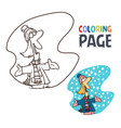 people with winter coloring page vector image