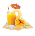 pineapple juice lily napkin vector image vector image