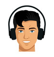 portrait young man vr technology device vector image