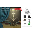 realistic hookah lounge composition vector image