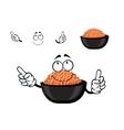 Red caviar bowl cartoon character vector image