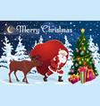 santa and deer with bag christmas gifts vector image