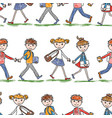 seamless background of the school children going vector image vector image