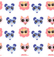 seamless pattern with cute animals face image vector image