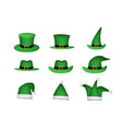 set of st patricks hat isolated on white vector image