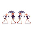 set of young happy dandy walking and running rear vector image vector image