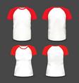 short raglan sleeve realistic volumetric t-shirts vector image vector image