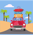 treveling red car with pile luggage bags on vector image