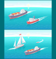 water transport cargo boat and sailing vector image vector image