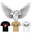 winged heart shirt template vector image vector image