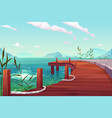 wooden pier with ropes on river natural landscape vector image