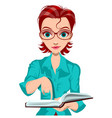 young woman teacher hold open book and point vector image vector image
