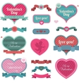 Valentine heart shaped decoration and ribbons vector image