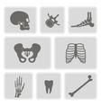 set of monochrome icons with human bones vector image
