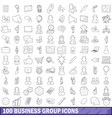 100 business group icons set outline style vector image vector image