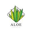 aloe vera logo design green natural product badge vector image