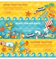 Beach Banner Flat Set vector image vector image