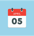 calendar day 5 april days year vector image vector image