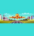 cartoon yellow airliner jet over runway vector image vector image