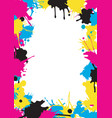 cmyk colors splatters frame vector image