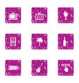 computer entertainment icons set grunge style vector image vector image