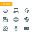 computer icons line style set with diskette vector image vector image