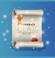 congrats class certificate diploma vector image