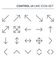 control ui thin line arrows icons vector image