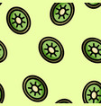 cute cartoon flat style kiwi seamless pattern vector image vector image
