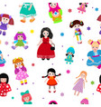 Doll toy cute girl female set vector image