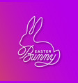 easter bunny linear lettering vector image vector image