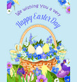 easter eggs basket paschal poster design vector image vector image