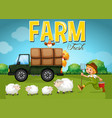 farm scene with farmer and sheeps vector image vector image