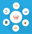 flat icon sea set of cachalot periscope cancer vector image vector image