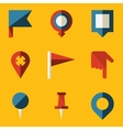 Flat icon set Push pin map vector image