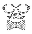 glasses with moustache and tie bow black and white vector image vector image