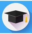 Graduation cap icon Flat design style vector image