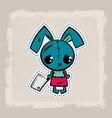 halloween stitch bunny rabbit zombie voodoo doll vector image