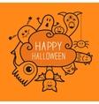 Happy Halloween countour doodle Ghost bat vector image