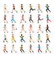 marathon runners and handicap sprinter with vector image vector image