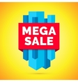 Mega sale banner Yellow background vector image vector image